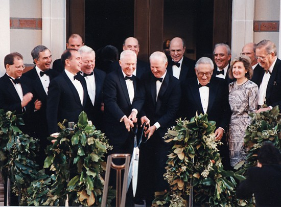 In 1993, James A. Baker, III, gave a speech at Rice University that laid out the mission of the Baker Institute. Above, Baker and E. William Barnett, now chair of the Baker Institute Board of Advisers, cut the ribbon at the Oct. 15, 1997, Baker Hall building dedication ceremony.