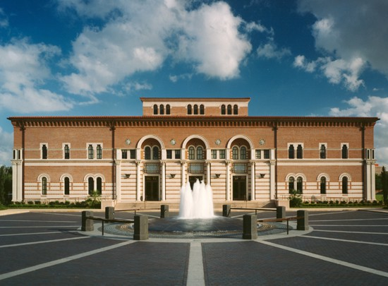 The Baker Institute for Public Policy is housed within Baker Hall on Rice University's campus. The building's architecture and design are influenced by its mission of serving as a meeting place for statesmen, scholars and students, as well as a bridge between the worlds of ideas and action.