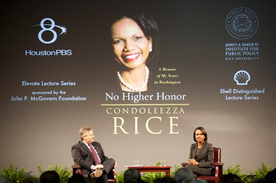 "The Shell Distinguished Lecture Series brings distinguished speakers to the Baker Institute and the Rice University campus. In November 2011, the program hosted The Honorable Condoleezza Rice, who discussed her memoir ""No Higher Honor."""